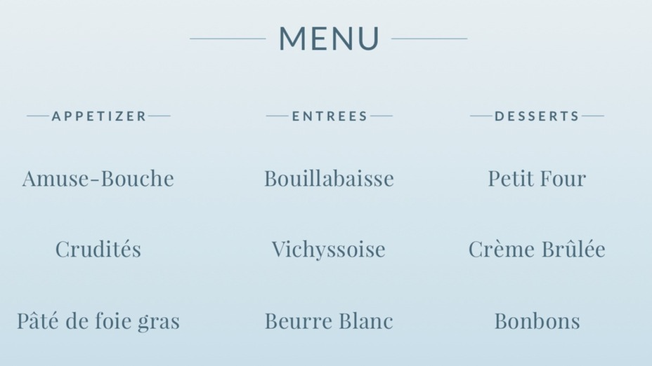 Play How To Read A French Menu