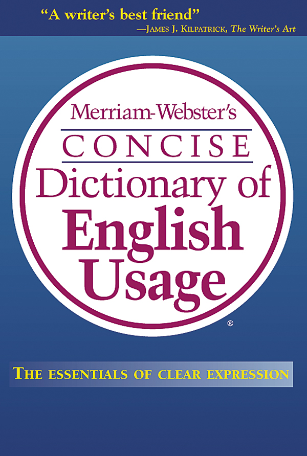 merriam-webster's concise dictionary of english usage book cover