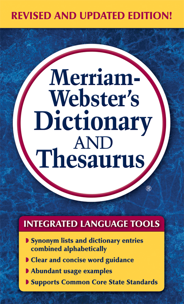 merriam-webster's dictionary and thesaurus, mass-market paperback book cover