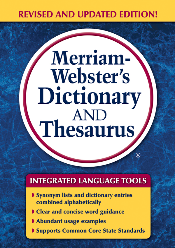 merriam-webster's dictionary and thesaurus, trade paperback book cover