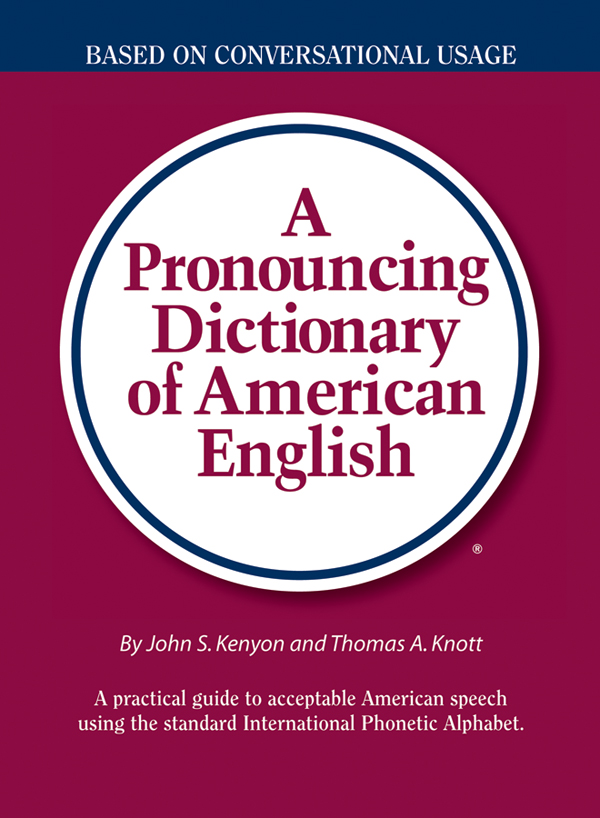 a pronouncing dictionary of american english book cover