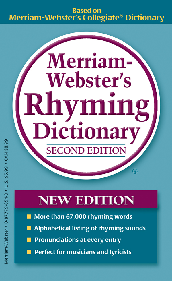 merriam-webster's rhyming dictionary, mass-market paperback book cover
