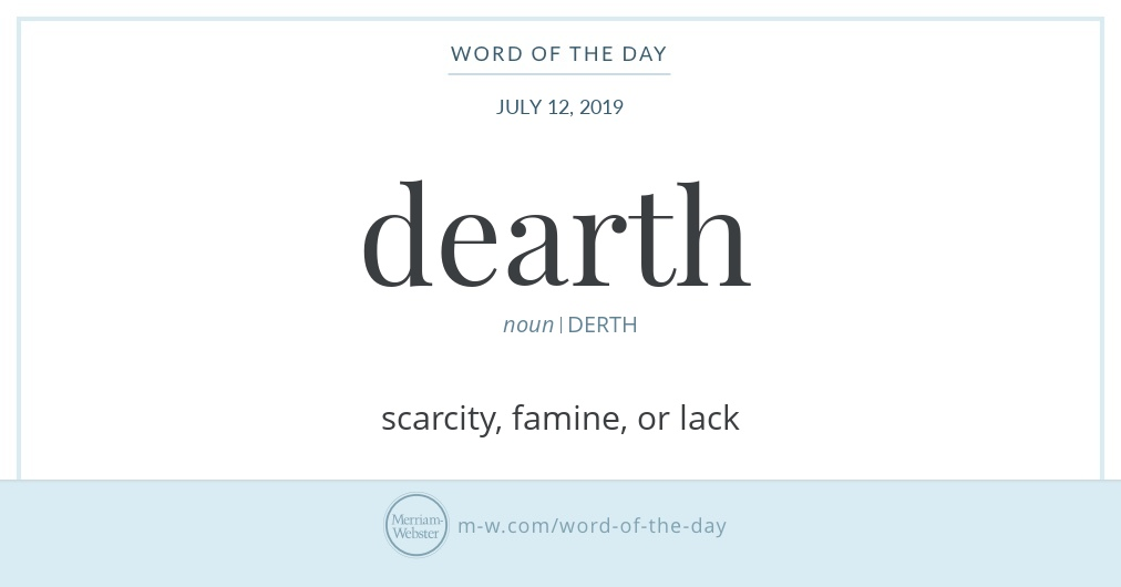 Word of the Day: Dearth