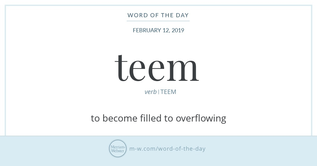 Word Of The Day Teem Merriam Webster